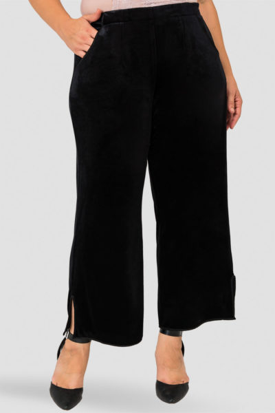 Standards & Practices Libby Velvet Wide Leg Pant plus size black CoverstoryNYC
