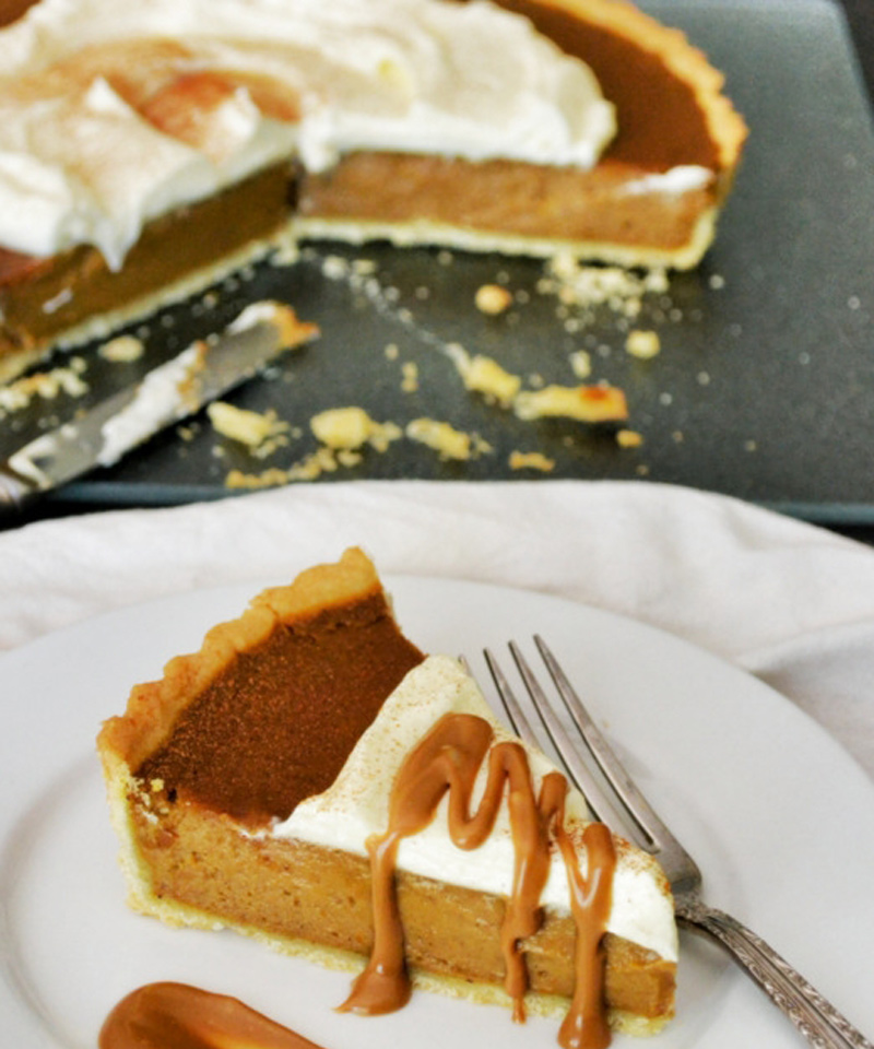 Lakefront Pumpkin Lager Pie with Chocolate-Caramel Sauce