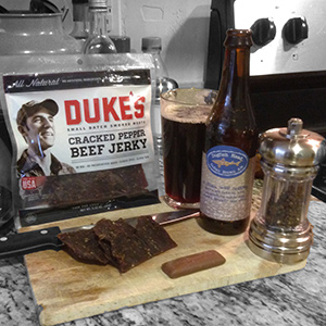 Duke's Cracked Pepper Beef Jerky with Dogfish Head Indian Brown Lager