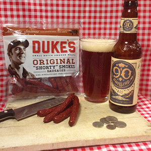 "Duke's Original ""Shorty"" Smoked Sausages with Odell 90 Shilling Ale"