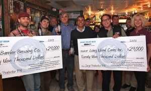 Barrier Brewing and Long Island Cares receive $58,000 in Sandy relief collaboration proceeds.