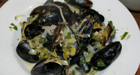 ale-steamed mussels