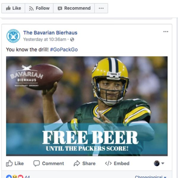 free beer packers lose