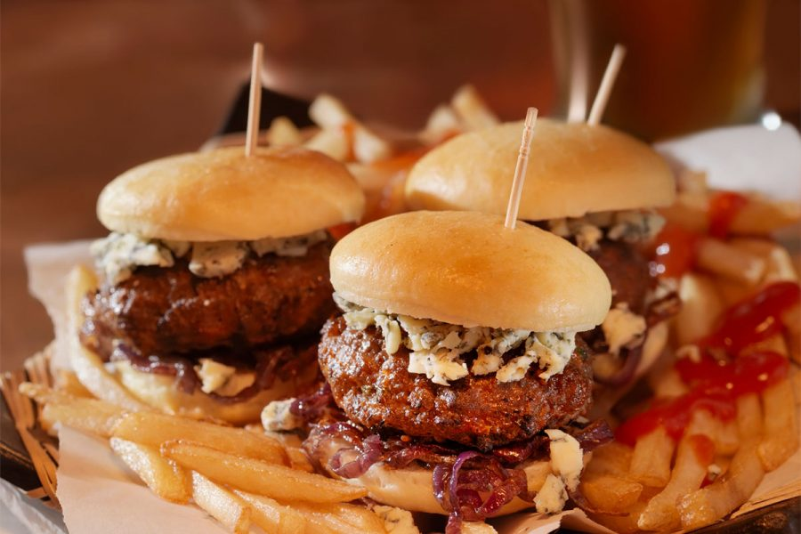 Beef Sliders with Allagash Curieux Caramelized Onions Bacon and Blue Cheese