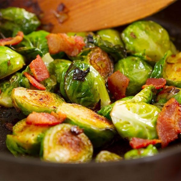 Braised Brussel Sprouts with Bacon and Beer