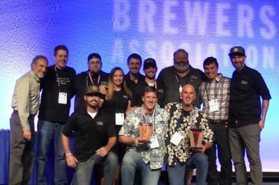 """Karl Strauss accepts """"Mid-Size Brewing Company of the Year"""" award at GABF 2016"""