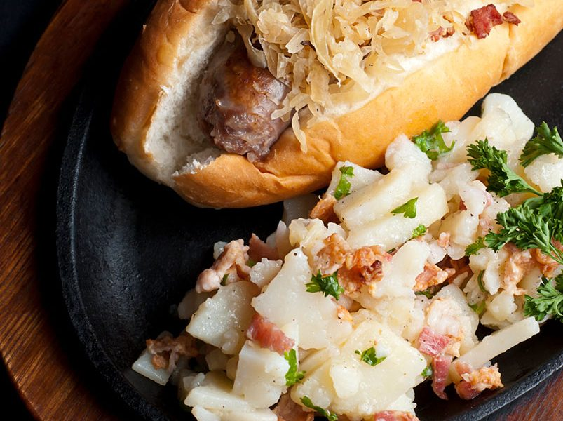 Grilled Beer Brats with German Potato Salad