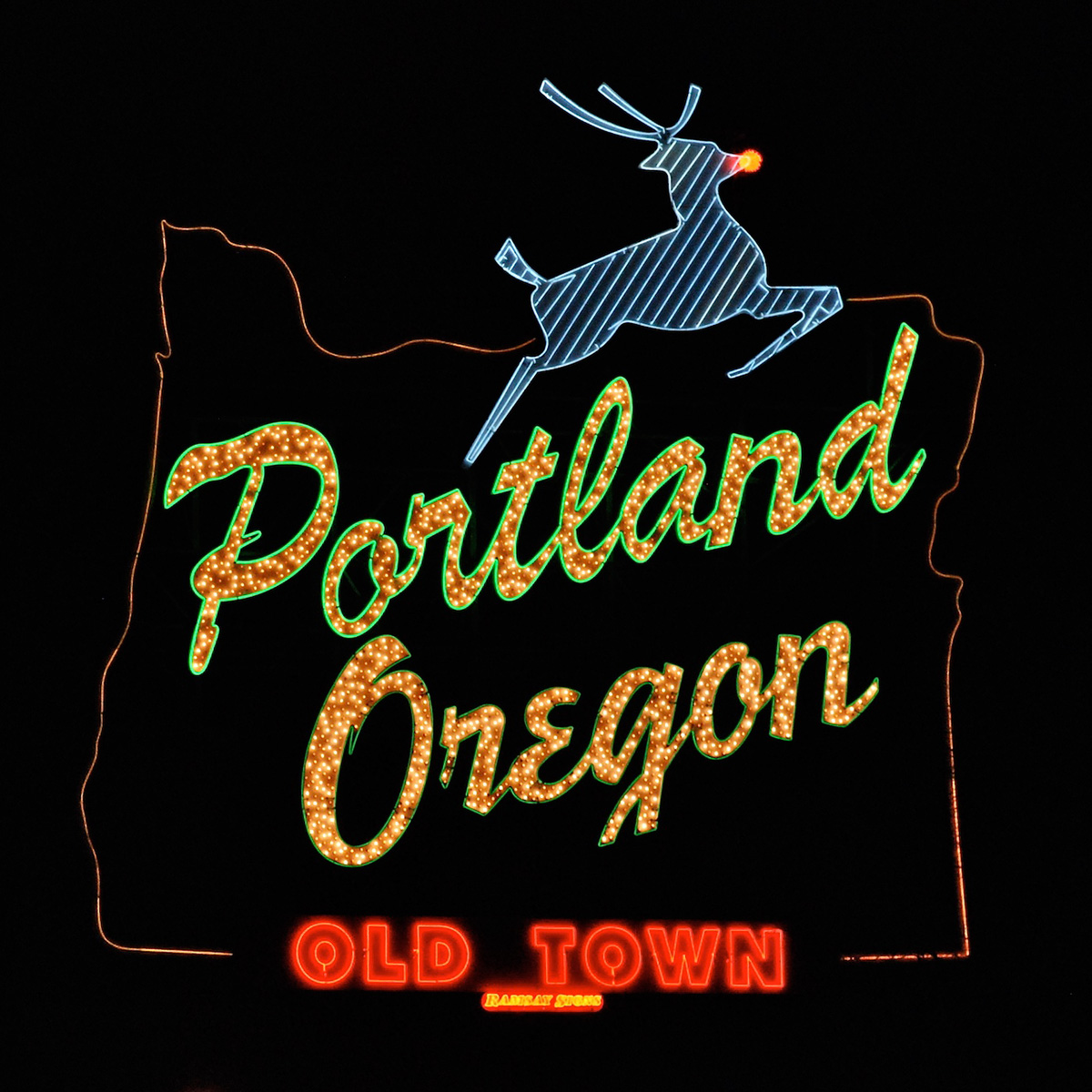 portland sign leaping stag