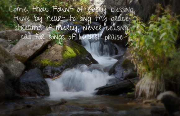 River & Waterfall with Song lyrics