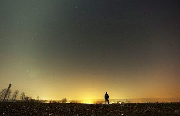 Man alone at dusk