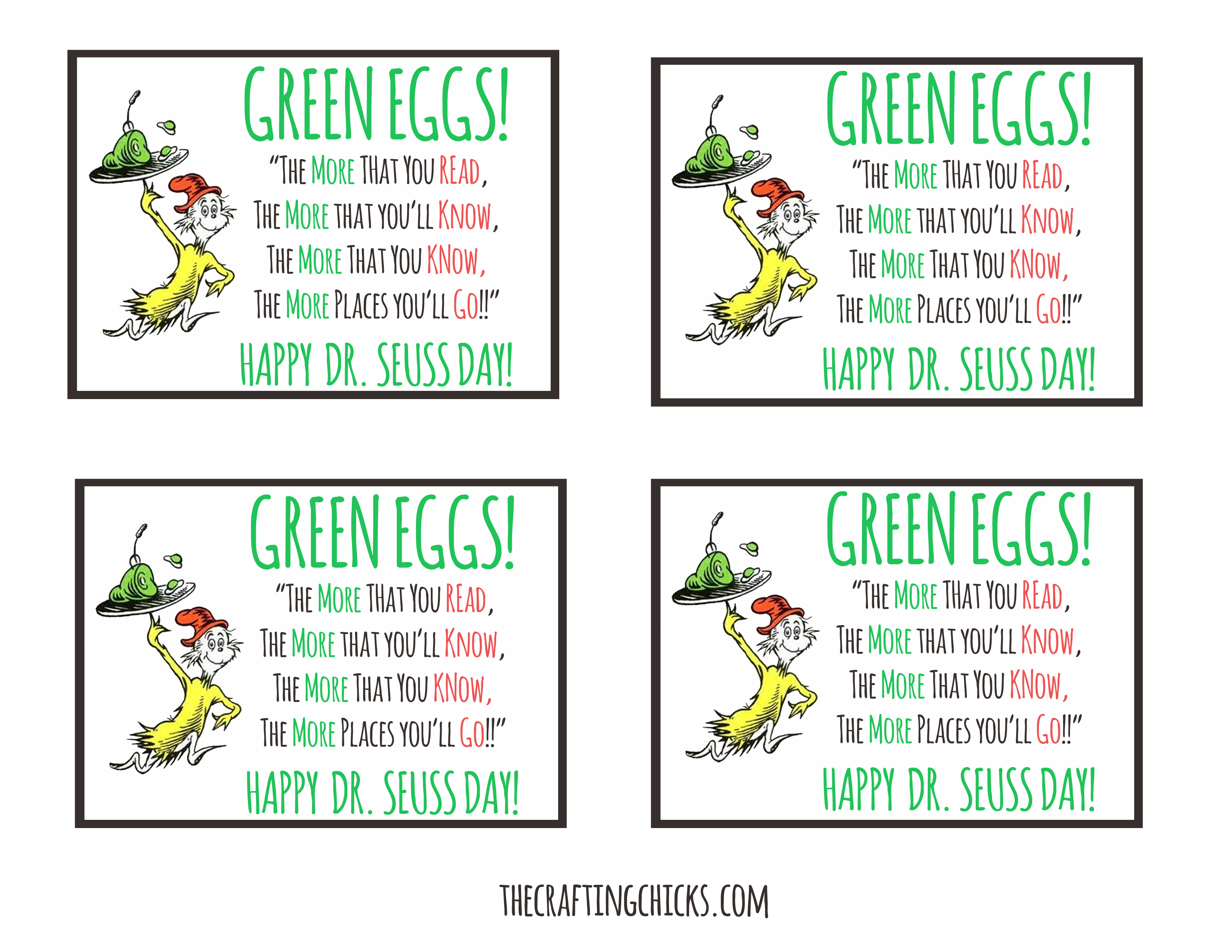 photograph regarding Green Eggs and Ham Printable identified as Dr. Seuss Inexperienced Eggs Tag *Free of charge Printable