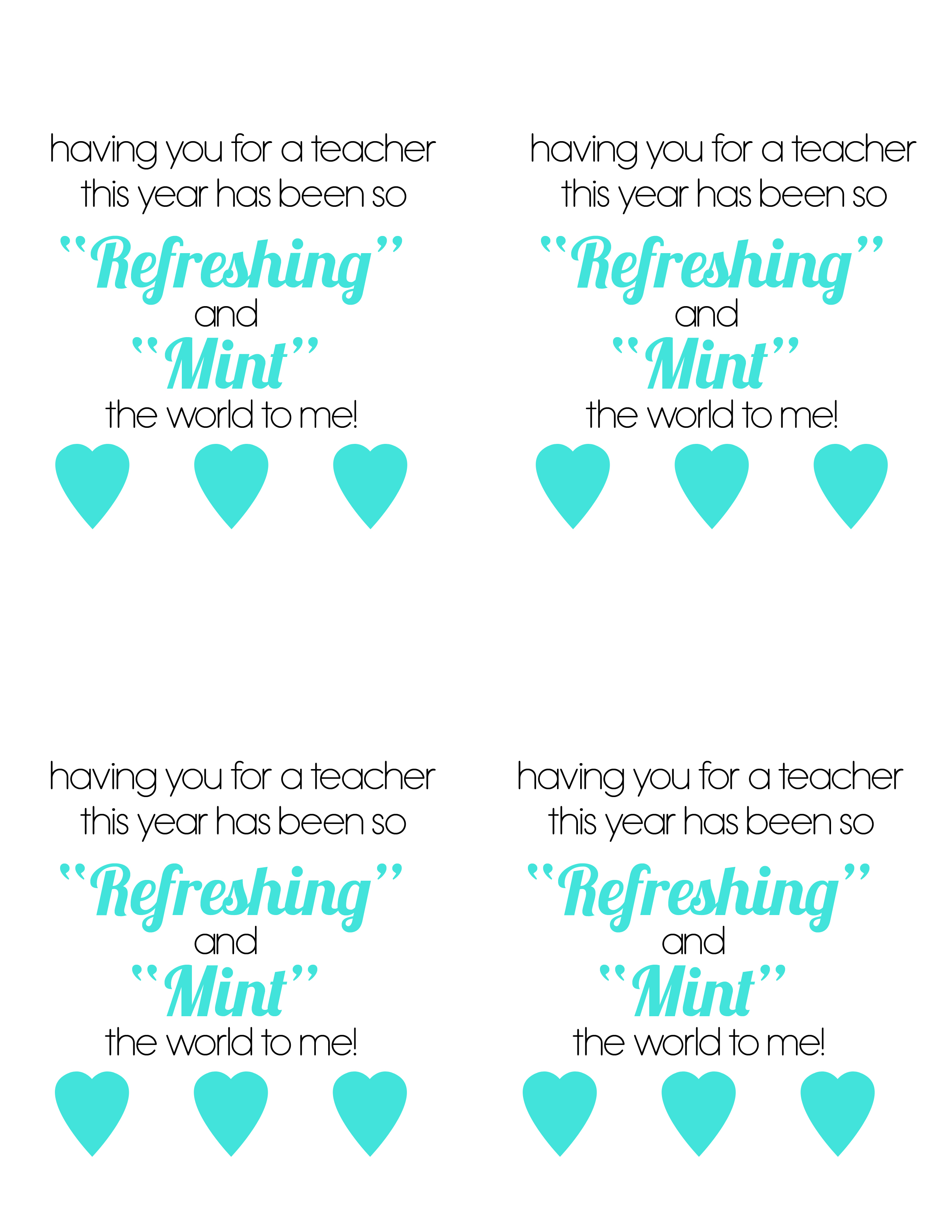 Mints Teacher Gift with free printable