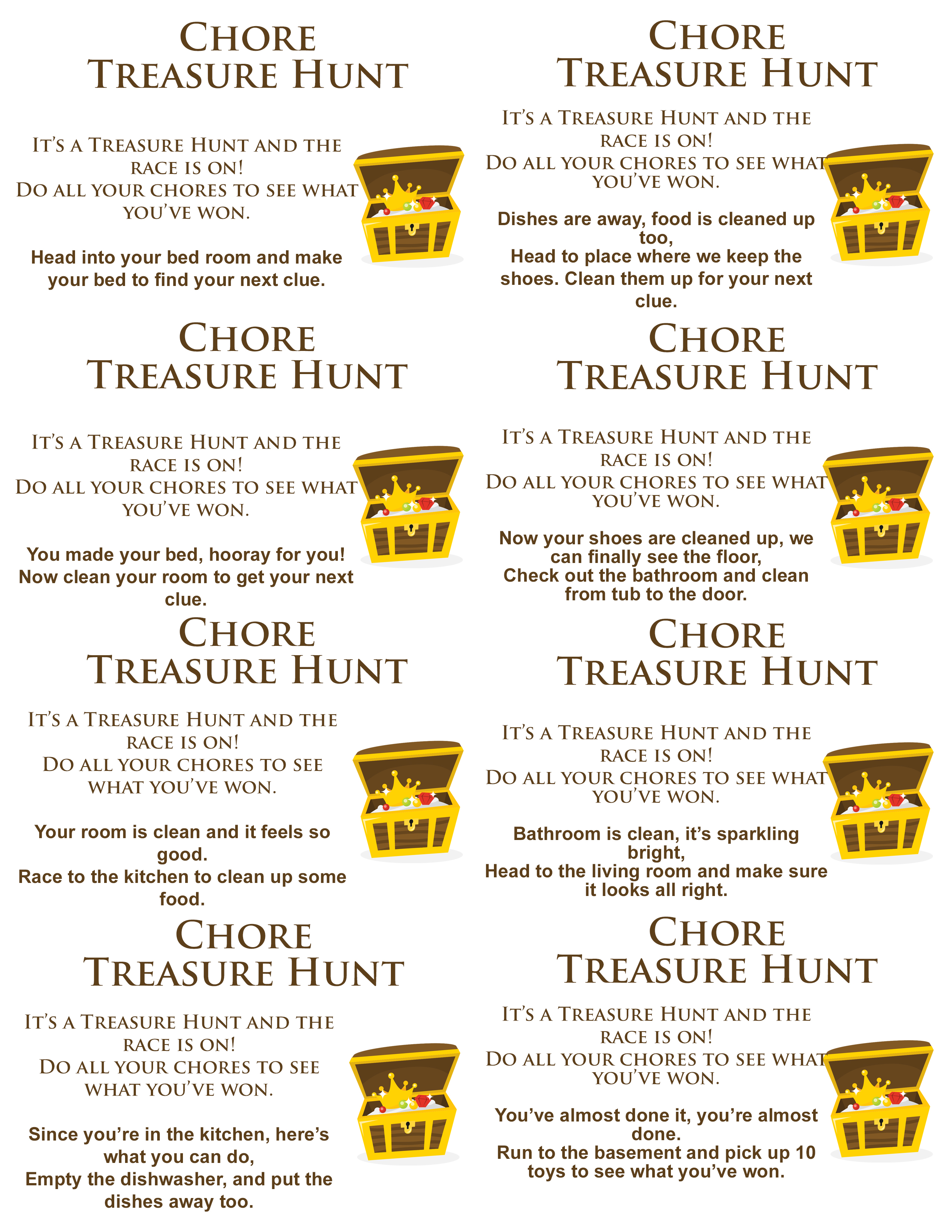 photograph relating to Printable Treasure Hunt Clues identified as Chore Treasure Hunt - The Composing Chicks
