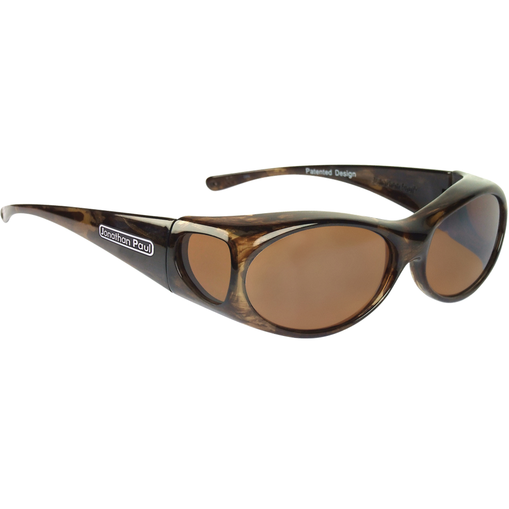 Aurora Brown Fitover Sunglasses in Marble with Amber lenses