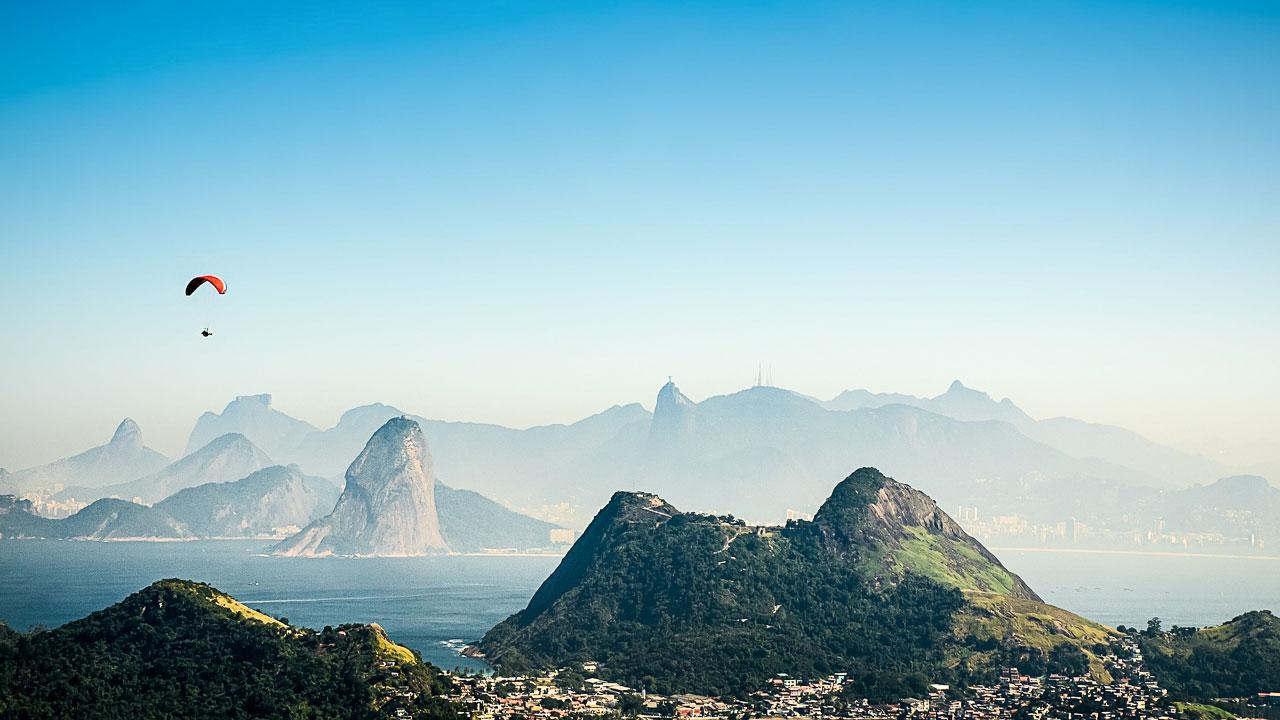 Paragliding over the hills of Rio de Janeiro