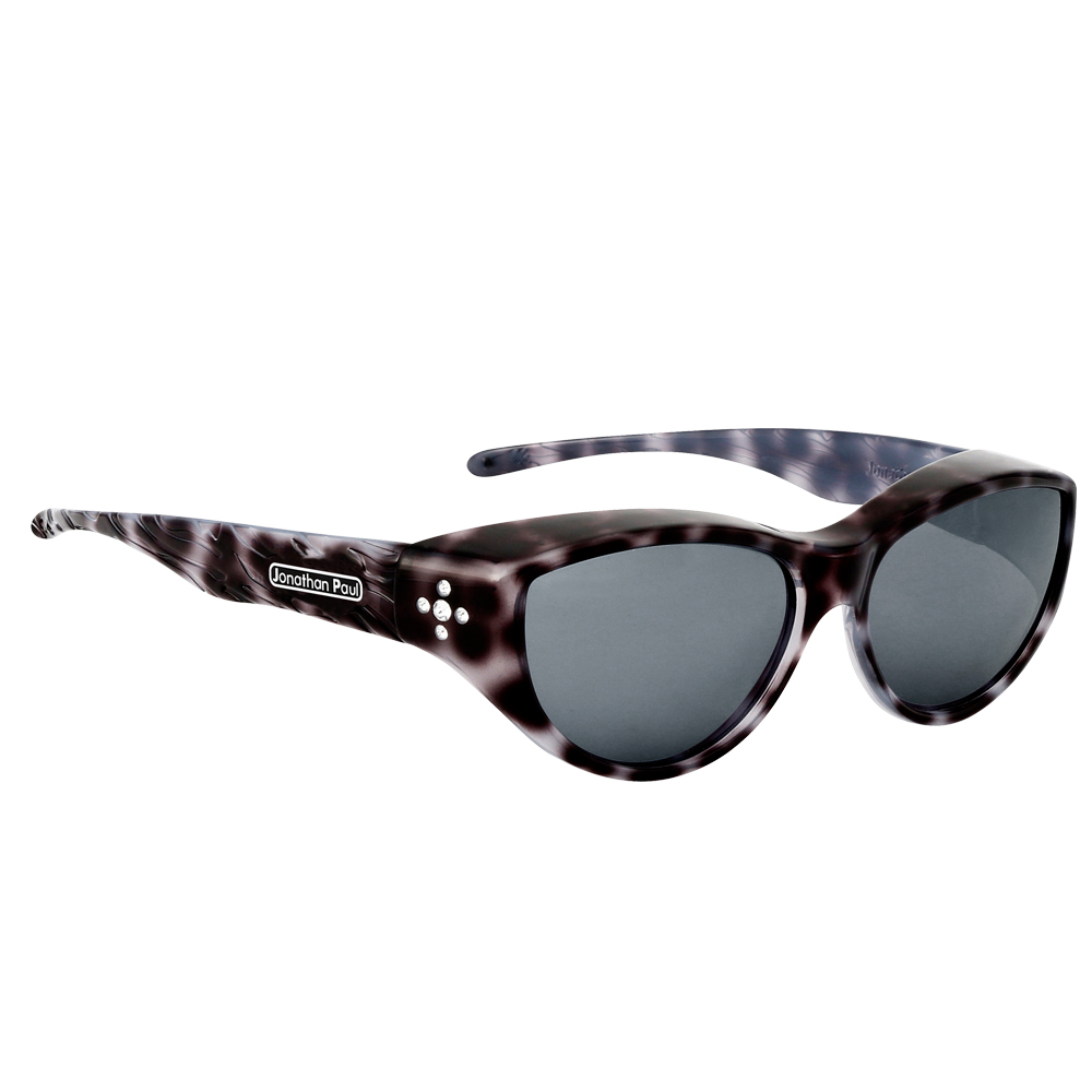 Chic Kitty Black Cheetah Print Fitover Polarized Sunglasses with gray lenses