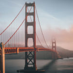 The golden gate bridge in San Francisco with fog