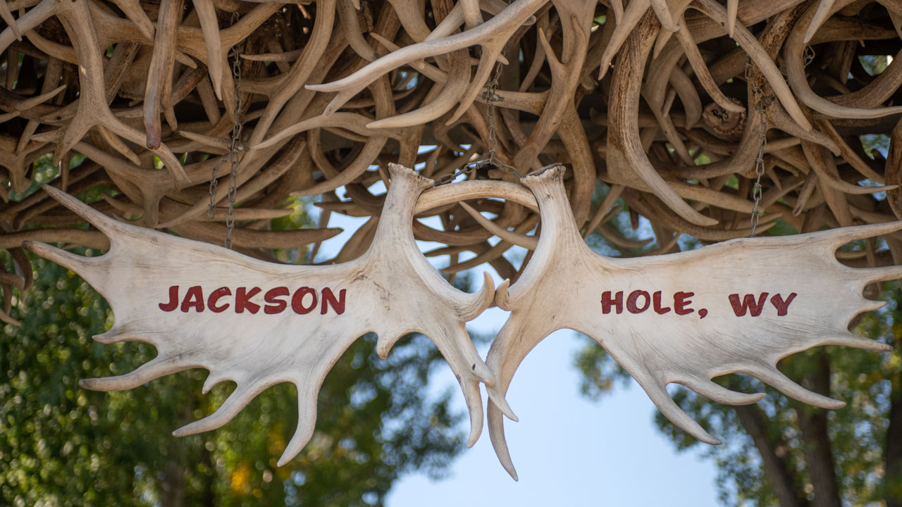 "Elk Antlers display ""Jackson Hole"" in the town square."