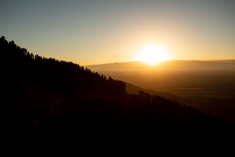 The sun rise viewed from Teton Pass, Wilson, Wyoming