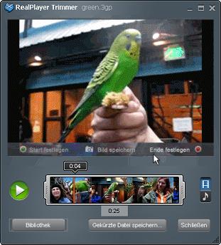 RealPlayer Tool zum Kürzen mit geladenem Video
