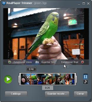 Recortador de RealPlayer con un vídeo cargado