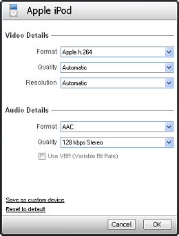 Video and audio details in device profiles – SUPPORT In older versions of RealPlayer, the details view shows the formats and  settings compatible with your device.