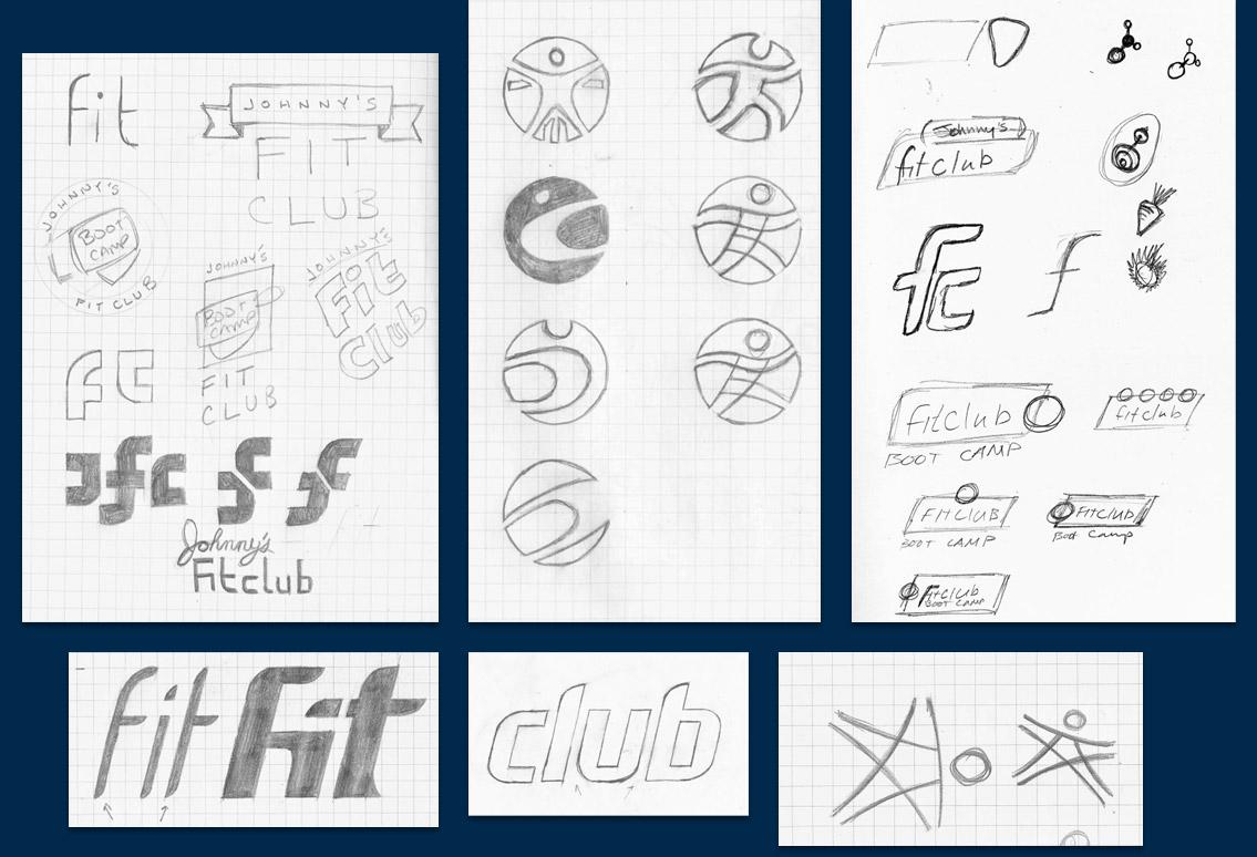 Fitclub identity sketches