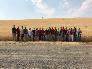 Winter wheat breeding team standing in front of a wheat field