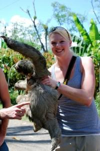 Rachel Wieme holding an animal