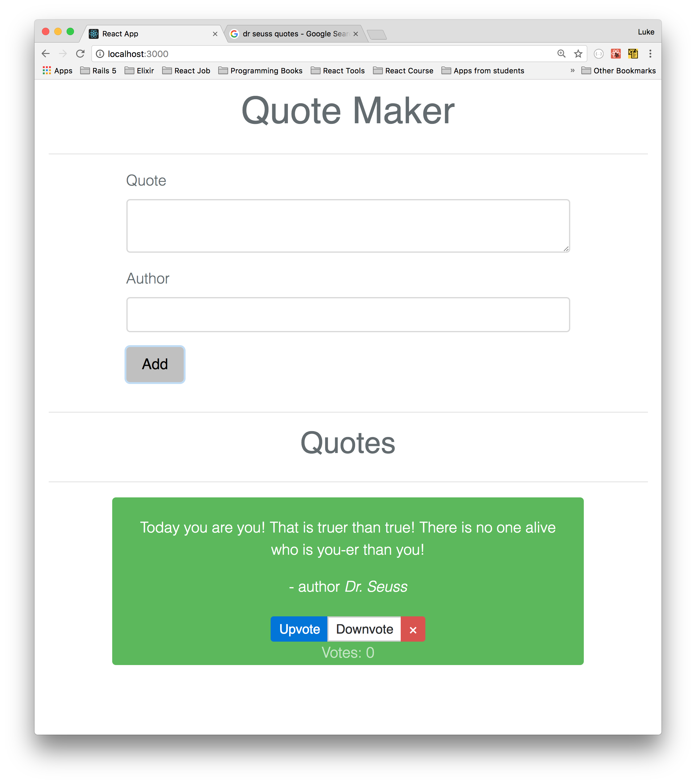 Quote Maker: Quote Maker React