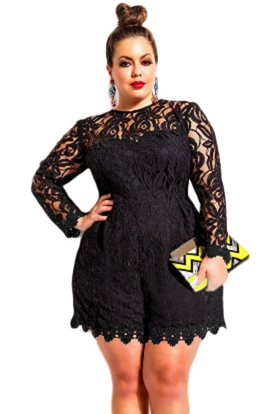 Black plus size long sleeve lace romper lc60599 2