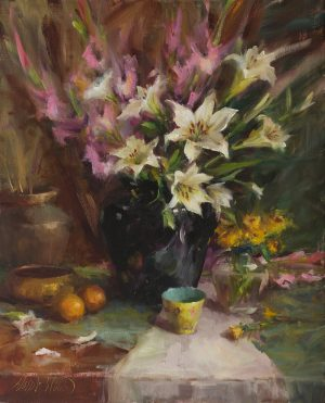Mary Dolph Wood - Arrangement in Black Vase