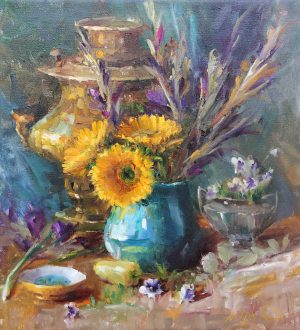 Mary Dolph Wood - Arrangement in Yellow and Turquoise