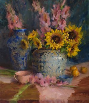 Mary Dolph Wood - Arrangement with Summer Flowers