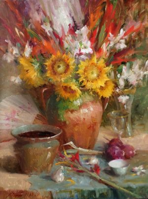 Mary Dolph Wood - Arrangement With Sunflowers, Gladiolas, and Dogwood