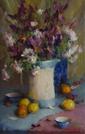 Mary Dolph Wood - Bouquet in Blue and White Pitcher