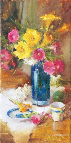 Mary Dolph Wood - Daylillies and Petunias