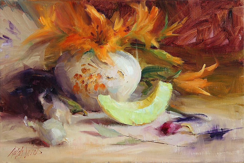 Honeydew Melon and Asian Lilies