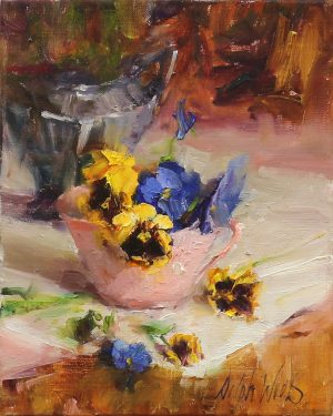 Mary Dolph Wood - Pansies in Pink Cup