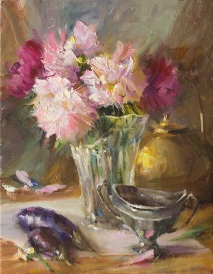 Mary Dolph Wood - Peonies, Crystal and Silver