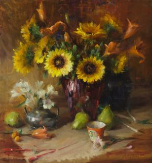 Mary Dolph Wood - Sunflowers and Lilies in Red Crystal