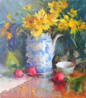 Mary Dolph Wood - Sunflowers in Blue & White Teapot