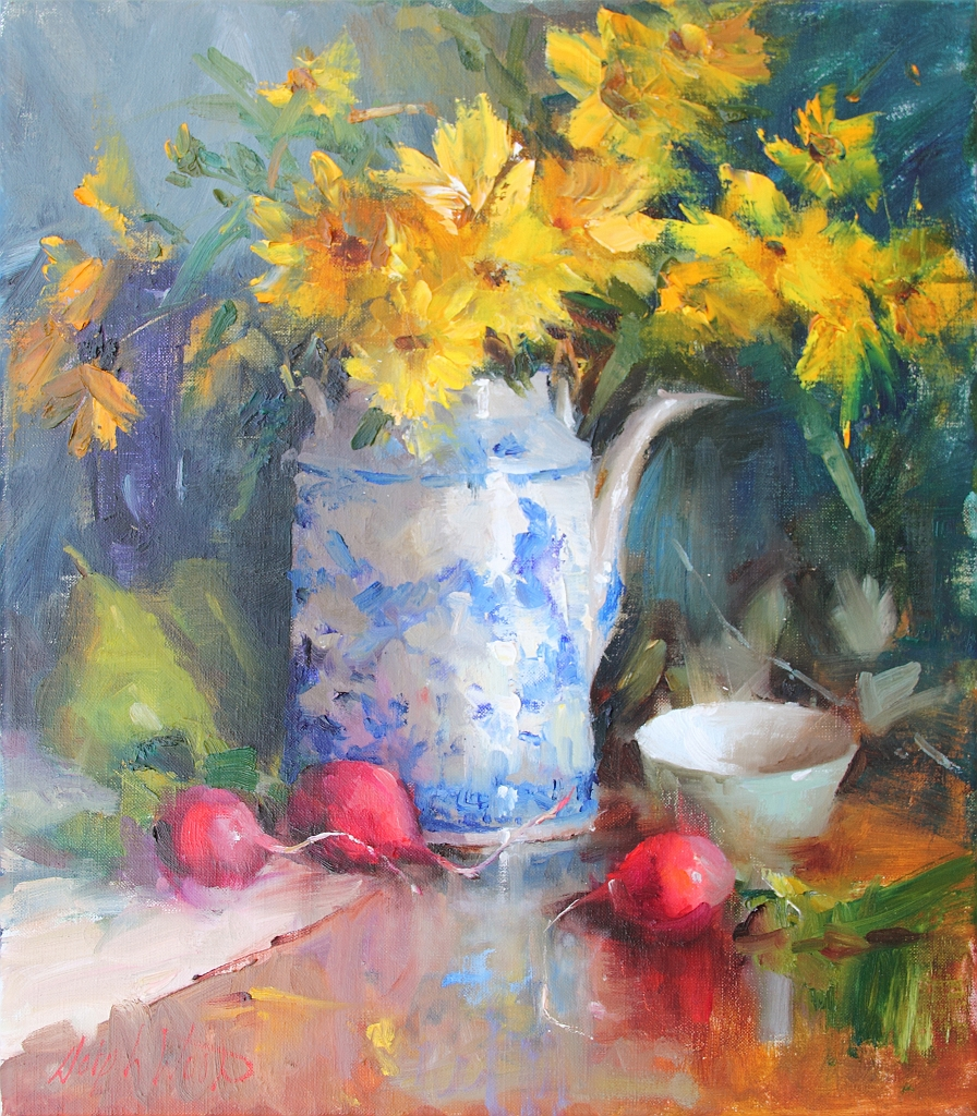 Sunflowers in Blue & White Teapot