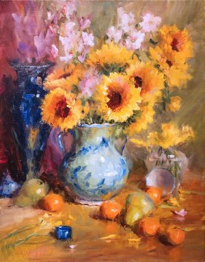 Mary Dolph Wood - Sunflowers in Teal Vase