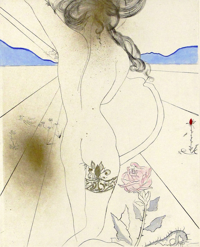 Salvador Dali Nude with Garter