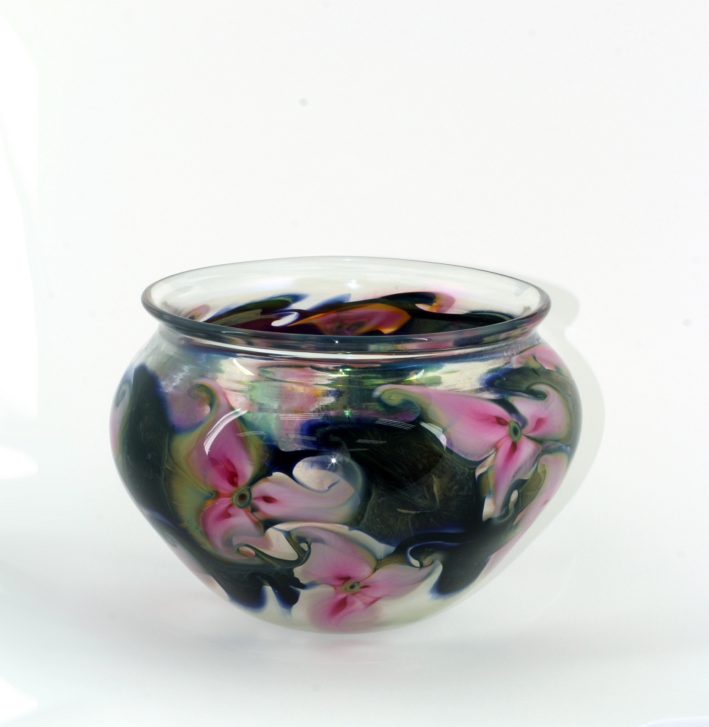Crystal Bowl with Pink Tri-Flora and Irridescent Interior