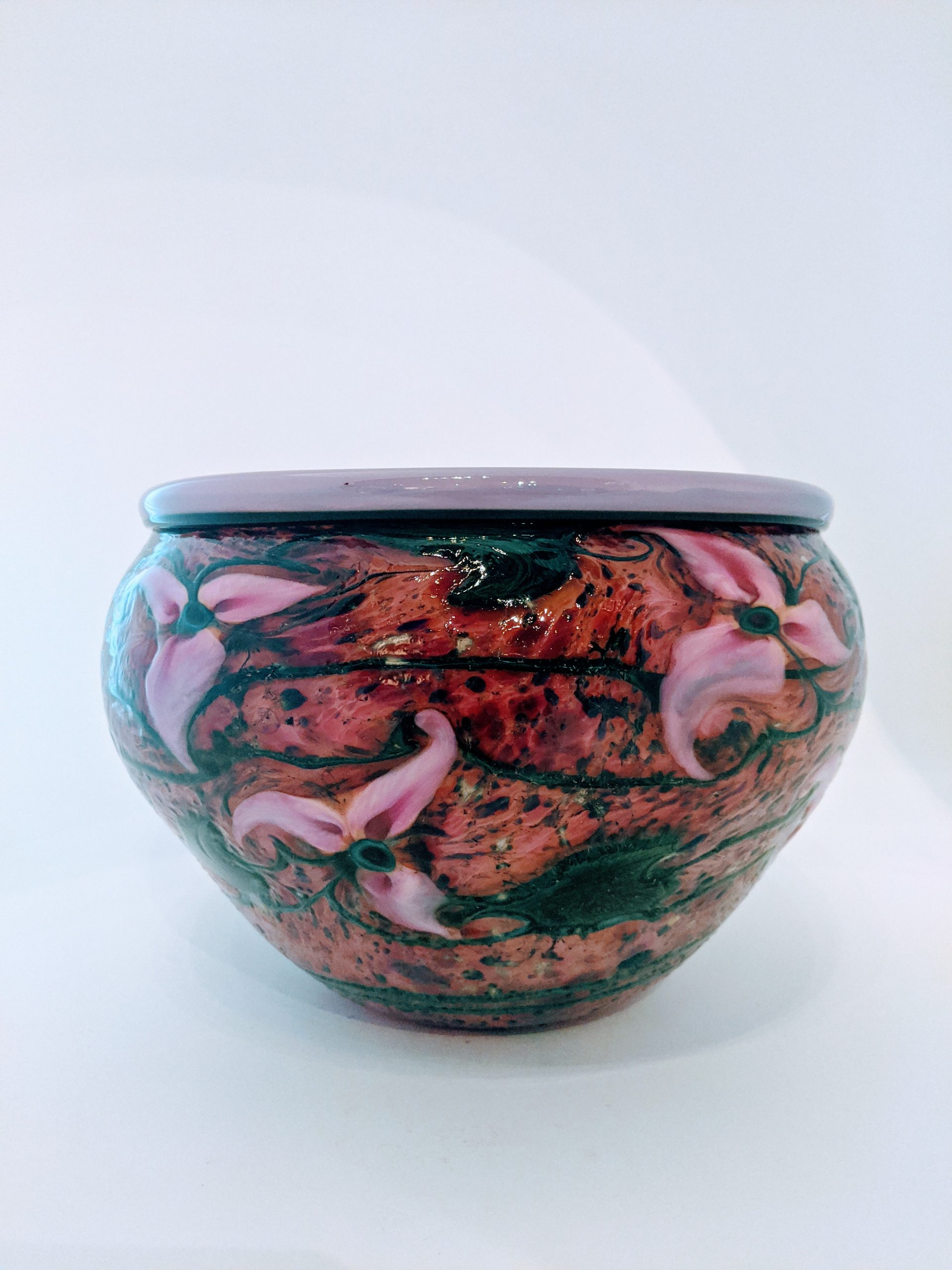 Gold Ruby Cypriot Bowl with Pink Tri-Flora and Gold Ruby Interior