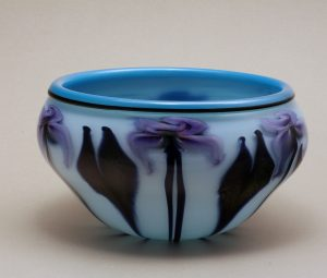 Charles Lotton - Opal Bowl with Purple Iris