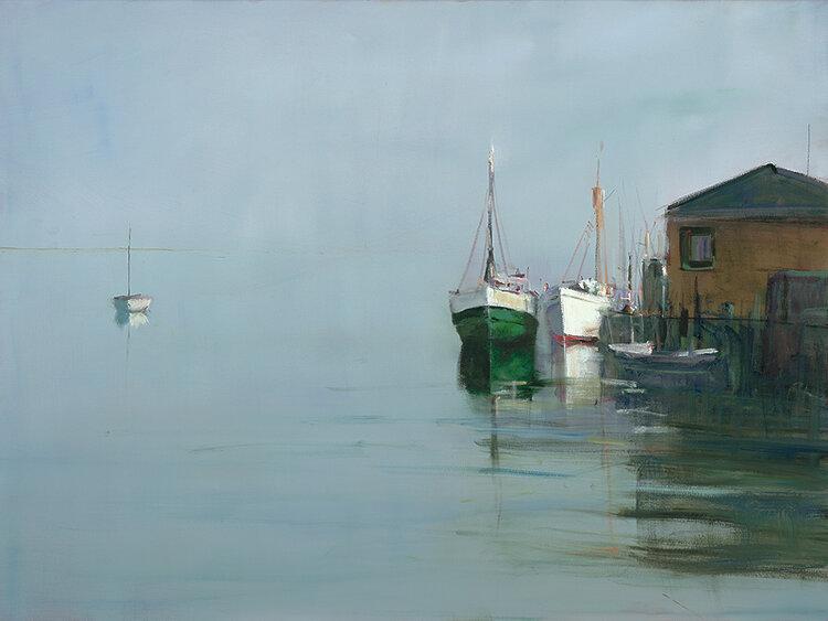 Anne Packard - Boats at Wharf