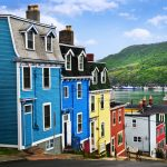 Street-with-colorful-houses-near-ocean-in-St.-John's-Newfoundland-Canada